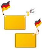 Deutsches Sport-Meldung-Feld mit Markierungsfahne. Stockfotos