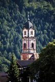 Deutschland, Bayern, Mittenwald, Kirche St Peter und Paul, Churchtower Stockbild