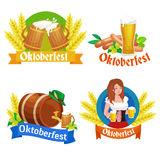 Deutschland-Bierfestival oktoberfest, bayerisches Bier im Glasbecher, traditionelle Parteifeier, Vektorillustration Stockfotografie