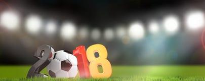 Deutschland 2018 3D überträgt Symbolfußballstadion Stockfotografie