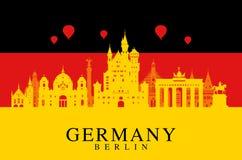 Deutschland-Flagge, Berlin-Reisemarkstein vektor abbildung