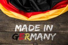 Deutschland-Flagge mit dem Text hergestellt in Deutschland Lizenzfreie Stockfotos