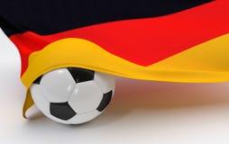 Deutschland-Flagge mit Meisterschaftsfußball Lizenzfreie Stockfotografie
