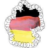 Deutschland-Form des Landes gefärbt in den Staatsflaggefarben und Stockfoto