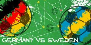 Deutschland gegen Schweden-Fußball- oder -fußballschmutzartillustration Lizenzfreie Stockfotografie