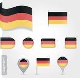 Deutschland-Ikonensatz Flaggen Stockfotografie
