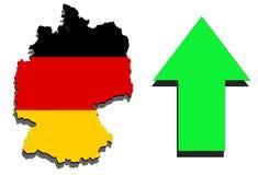 Deutschland-Karte auf weißem Hintergrund und dem grünen Pfeilsteigen Stockbild