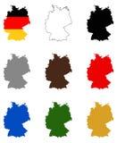 Deutschland-Karte und Flagge - Land in zentral-West-Europa vektor abbildung