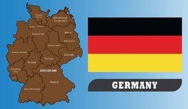 Deutschland-Karte und Markierungsfahne stock abbildung