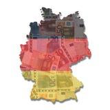 Deutschland-Kartenmarkierungsfahne mit Euro Stockfoto