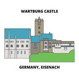 Deutschland, Schlosslinie Ikonenkonzept Eisenach Wartburg Deutschland, Vektorzeichen Schlosses Eisenach Wartburg flaches, symb lizenzfreie abbildung