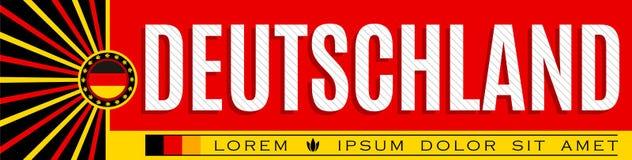 Deutschland sztandaru patriotyczny projekt, typograficzna wektorowa ilustracja, niemiec flaga barwi ilustracji