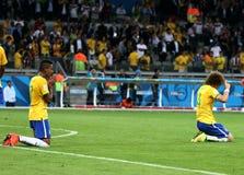Deutschland und Brasilien team während der 2014 Weltcup-Halbfinale Stockfotos