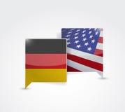 Deutschland- und USA-Kommunikation Stockbild