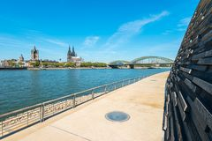 The deutzer rhine boulevard in Cologne at summer. View from the rhine boulevard to the old town with cologne cathedral at summer. ideal for websites and Royalty Free Stock Photo