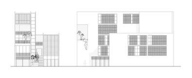 Deux élévations d'une conception architecturale moderne