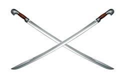 Deux épées de cavalerie circassiennes nues d'isolement sur le blanc Image libre de droits