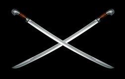 Deux épées de cavalerie circassiennes nues sur le noir Image stock