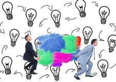 Deux équipe porter le cerveau de couleur avec des backgrouns de graphique ont environ une idée illustration stock