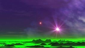 Deux étoiles au-dessus de Misty Planet banque de vidéos