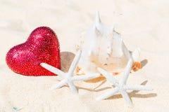 Deux étoiles de mer, grand coeur rouge et grande coquille sur un tropical arénacé Photo libre de droits