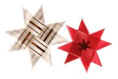 Deux étoiles de Noël d'origami Images stock