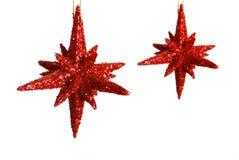 Deux étoiles rouges de Noël Images libres de droits