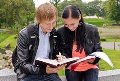 Deux étudiants étudiant à l'extérieur Photo libre de droits