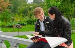 Deux étudiants étudiant à l'extérieur Photo stock