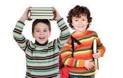 Deux étudiants d'enfants retournant à l'école Images libres de droits