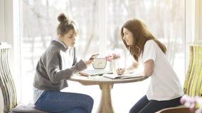Deux étudiants féminins d'amis s'asseyant dans un café face à face Image libre de droits