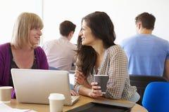 Deux étudiants mûrs féminins travaillant ensemble utilisant l'ordinateur portable photographie stock