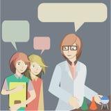 Deux étudiants parlent avec le scientifique Image stock