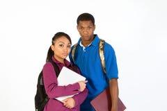 Deux étudiants sérieux - haut proche - horizontaux Image stock