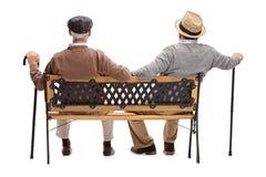 Deux aînés décontractés s'asseyant sur un banc Images stock
