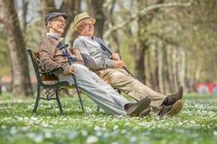 Deux aînés s'asseyant et détendant en parc Photographie stock