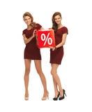 Deux adolescentes dans des robes rouges avec le signe de pour cent Photo stock