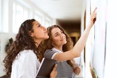 Deux adolescentes dans le hall de lycée pendant la coupure Photographie stock libre de droits