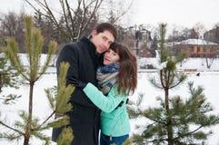 Deux amants marchent en parc d'hiver près des pins Photographie stock libre de droits