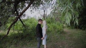 Deux amants s'asseyent sous un arbre par temps ensoleillé regardent l'un l'autre et le sourire clips vidéos