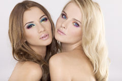 Deux amie - blonds et brunette Photo stock