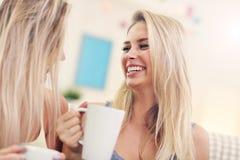 Deux amie causant et buvant du café à la maison Photos stock