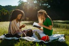 Deux amie multi-ethniques pendant le pique-nique sur le pré ensoleillé La fille africaine attirante cause et Photo libre de droits