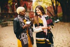Deux amies assez multiraciales de jeunes au jour d'automne Image libre de droits