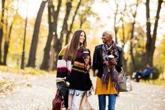 Deux amies assez multiraciales de jeunes au jour d'automne Photographie stock libre de droits