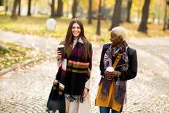 Deux amies assez multiraciales de jeunes au jour d'automne Photo stock