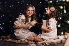 Deux amies avec des cadeaux s'approchent de l'arbre de Noël Photos libres de droits