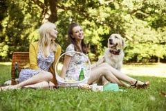 Deux amies avec le chien sur le pique-nique Photo libre de droits