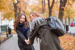 Deux amies ayant l'amusement dans le parc d'automne Photographie stock