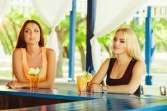 Deux amies ayant l'amusement extérieur en été Femmes avec des verres de cocktail des vacances photos stock